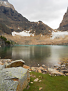 Opabin Lake, with Opabin Glacier and Pass in the background; near Lake O'Hara, Yoho National Park, Field, British Columbia, Canada