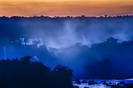 View to the Argentinian side of the Iguazu Falls at dusk, Brazil