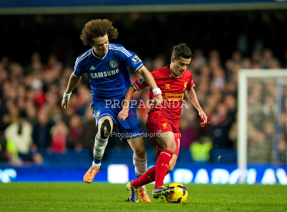 LONDON, ENGLAND - Sunday, December 29, 2013: Liverpool's Philippe Coutinho Correia in action against Chelsea's David Luiz during the Premiership match at Stamford Bridge. (Pic by David Rawcliffe/Propaganda)