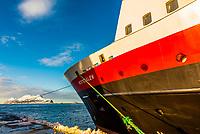 The Hurtigruten ship MS Versteralen docked in Alesund, Norway.