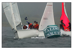 The second days racing at the Bell Lawrie Yachting Series in Tarbert Loch Fyne ...Strong winds, high seas and heavy rain dominated the day...Anthony O'Leary, last year's winner in his 1720 Antix IRL1807 at the Talisker Buoy.