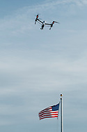Montgomery, New York - A DJI Inspire 1 quadcopter flies over the American flag at Benedict Farm on Jan. 25, 2015.