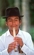 ECUADOR, COLONIAL musician and 'queno' bamboo flute