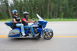 Verona, Italy's Motor Bike Expo's Francesco Agnoletto on the Legends Ride from Deadwood, SD through Spearfish Canyon and to the Sturgis Buffalo Chip during the Sturgis Black Hills Motorcycle Rally. SD, USA. August 4, 2014.  Photography ©2014 Michael Lichter.