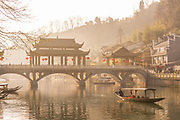 View of a traditional Chinese bridge over a river in an old town, Wind Bridge, Fenghuang, Hunan Province, China