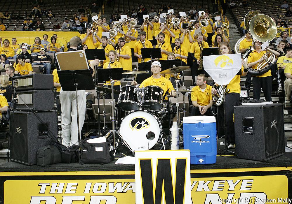 15 FEBRUARY 2007: The Iowa Pep Band plays before Iowa's 66-58 win over Northwestern at Carver-Hawkeye Arena in Iowa City, Iowa on February 15, 2007.