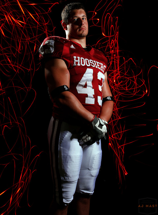 12 August 2008: Matt Mayberry (43), poses for a portrait at the Indiana University Hoosiers football media day in Bloomington, Ind.