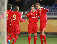 2005-12-15 Yokohama, Japan, <br />Peter Crouch  Liverpool celebrates with John Arne Riise after his Liverpool's first goal against Ronald Gonzalez(Deportivo Saprissa) during FC Liverpool(England)3-0Deportivo Saprissa(Costa Rica) in semi-final of FIFA World Club Championship TOYOTA Cup Japan2005.<br />Photo Masahide Tomikoshi / Fotosports International