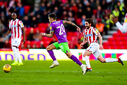 Jamie Paterson of Bristol City is challenged by Joe Allen of Stoke City - Rogan/JMP - 01/01/2019 - Bet365 Stadium - Stoke, England - Stoke City v Bristol City - Sky Bet Championship.
