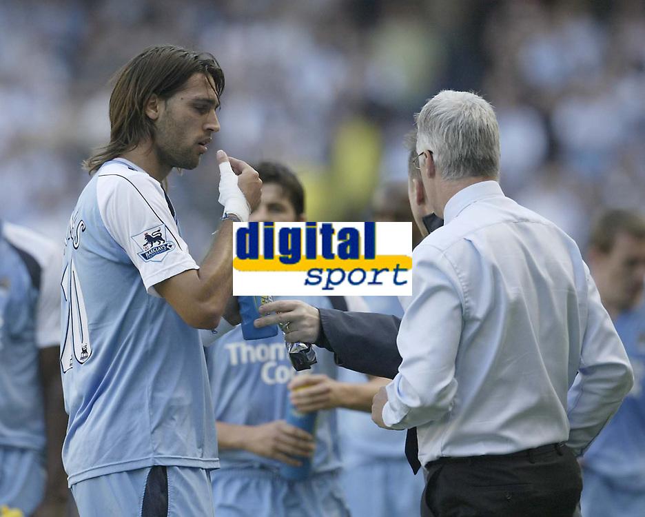 Photo: Aidan Ellis.<br /> Manchester City v West Ham United. The Barclays Premiership. 23/09/2006.<br /> City's Georgios Samaras eats some tablets that the doc gives him