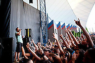 The Canadian band Simple Plan performed at the 2011 Vans Warped Tour on July 2, 2011. Members Pierre Bouvier, Chuck Comeau, David Desrosiers, Sebastien Lefebvre, Jeff Stinco have established the Simple Plan Foundation to support many of the issues their fans experience.