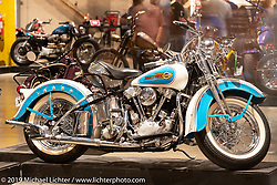 Restored antique Harley-Davidson Knucklehead owned by Vic Ayad at the Handbuilt Show. Austin, Texas USA. Saturday, April 13, 2019. Photography ©2019 Michael Lichter.