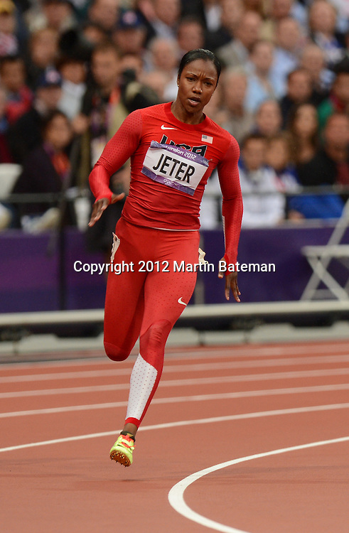 Carmelita Jeter competes in the women's 200m at the London Olympics 6 August 2012