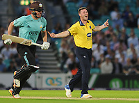 Cricket - 2017 Natwest T20 Blast - Quarter-Final: Surrey vs. Birmingham Bears<br /> <br /> Aaron Thomason of Birmingham celebrates taking the wicket of Rokki Clarke, at The Oval.<br /> <br /> COLORSPORT/ANDREW COWIE