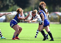 Amelia Buckland-Hurry of Bristol Bears Women tackles a Dragons opponent- Mandatory by-line: Paul Knight/JMP - 02/09/2018 - RUGBY - Shaftsbury Park - Bristol, England - Bristol Bears Women v Dragons Women - Pre-season friendly