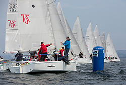 Sailing - SCOTLAND  - 27th May 2018<br /> <br /> 3rd days racing the Scottish Series 2018, organised by the  Clyde Cruising Club, with racing on Loch Fyne from 25th-28th May 2018<br /> <br /> Hunter 707, start, branding, Luddon, GBR7105, Pocket Battleship, Robin Angus, Wormit Boating Club, Hunter 707 OD<br /> <br /> Credit : Marc Turner<br /> <br /> Event is supported by Helly Hansen, Luddon, Silvers Marine, Tunnocks, Hempel and Argyll & Bute Council along with Bowmore, The Botanist and The Botanist