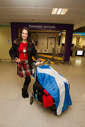 Miss Scotland Jennifer Reochs leads the first group of contestants into Scotland.<br /> MISS WORLD 2011 VISITS SCOTLAND.