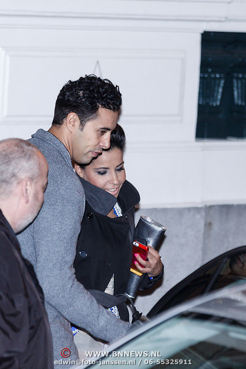 NLD/Amsterdam/20131110 - Ahmed Soultan and partner leaving his hotel for leaving to the MTV EMA 2013