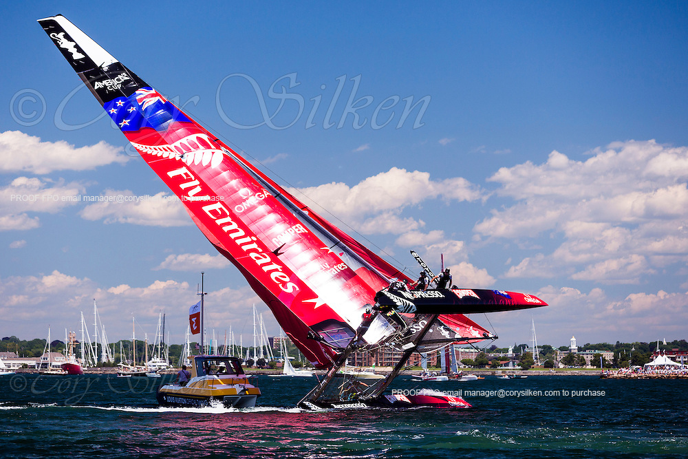 Emirates New Zealand racing in the America's Cup World Series, Newport.