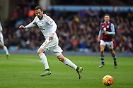 Gylfi Sigurdsson of Swansea city in action. Barclays Premier league match, Aston Villa v Swansea city at Villa Park in Birmingham, the Midlands on Saturday 24th October 2015.<br /> pic by  Andrew Orchard, Andrew Orchard sports photography.