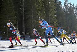 Sturla Holm Laegreid, Johannes Dale of Norwa, Quentin Fillon Maillet of France compete during the IBU World Championships Biathlon 15 km Mass start Men competition on February 21, 2021 in Pokljuka, Slovenia. Photo by Vid Ponikvar / Sportida
