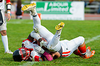 KELOWNA, BC - OCTOBER 6: Andre Goulbourne #21 of the VI Raiders is tackled by the Okanagan Sun at the Apple Bowl on October 6, 2019 in Kelowna, Canada. (Photo by Marissa Baecker/Shoot the Breeze)