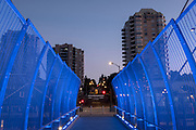 Neon lights on walkway at night, New Westminster