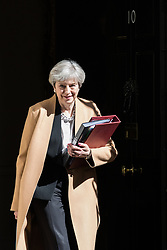 © Licensed to London News Pictures. 19/04/2017. London, UK. Prime Minister Theresa May leaves 10 Downing Street on her way to Parliament for Prime Minister's Questions. Today she will seek approval from MPs for an early General Election on 8 June 2017. Photo credit: Rob Pinney/LNP