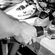 "Ryan ""Bootsie"" Huggins works on ski boots in his Teton Boot Lab shop."