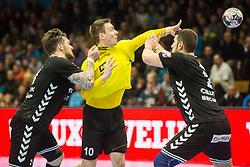 Rok Ovnicek of RK Gorenje Velenje during handball match between RK Gorenje Velenje and Kadetten Schaffhausen in VELUX EHF Champions League, on November 25, 2017 in Rdeca Dvorana, Velenje, Slovenia. Photo by Ziga Zupan / Sportida