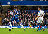Football - 2019 / 2020 Premier League - Chelsea vs. Crystal Palace<br /> <br /> Tammy Abraham (Chelsea FC) beats the offside and races through to score the opening goal of the game at Stamford Bridge <br /> <br /> COLORSPORT/DANIEL BEARHAM