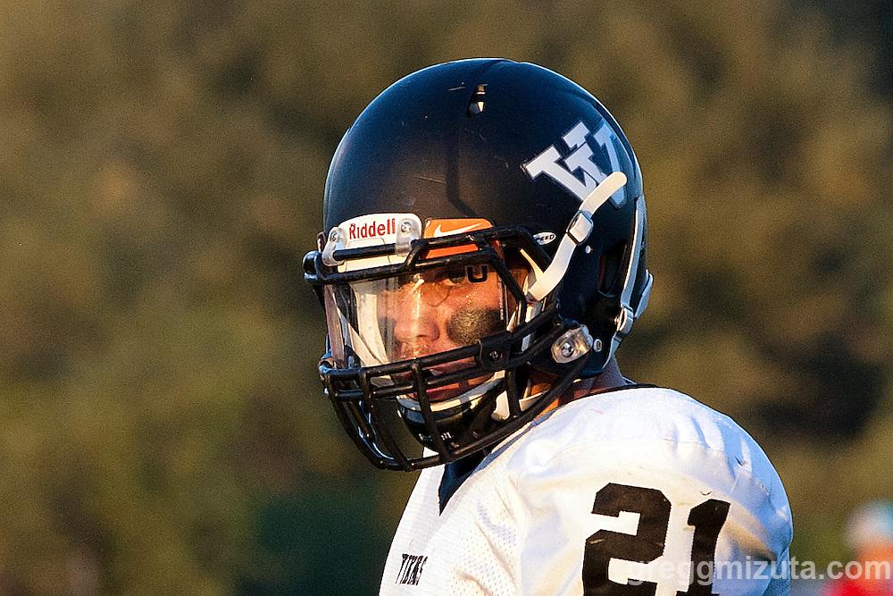 Vale senior Josh Buchholz. Vale - Homedale football game, September 11, 2015 at Homedale High School, Homedale, Idaho. Homedale won 40-7.