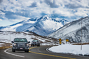 Trail Ridge Road (Beaver Meadow National Scenic Byway) stretches 48 miles on U.S. Highway 34 traversing Rocky Mountain National Park from Grand Lake (near Kawuneeche Visitor Center) in the west to Estes Park, in Colorado, USA.Trail Ridge Road reaches 12,183feet elevation.