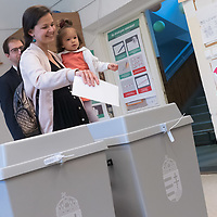 Family cast their vote during the European Parliamentary election in Budapest, Hungary on May 26, 2019. ATTILA VOLGYI