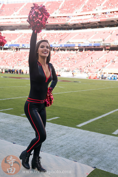 September 21, 2017; Santa Clara, CA, USA; San Francisco 49ers Gold Rush cheerleader Sierrah before the game against the Los Angeles Rams at Levi's Stadium. The Rams defeated the 49ers 41-39.