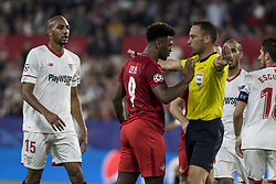 November 1, 2017 - Seville, Spain - Ze Luis of Spartak (C ) discusses with the referee during the UEFA Champions League Group E soccer match between Sevilla FC and Spartak Moskva at Estadio Ramon Sanchez Pizjuan (Credit Image: © Daniel Gonzalez Acuna via ZUMA Wire)