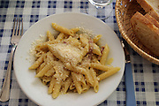 Penne pasta with cream and cheese for lunch at a trattoria in Rome, Italy. (Supporting image from the project Hungry Planet: What the World Eats)