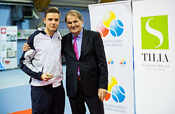 Marino Kegl and Marko Umberger, president of TZS at Tennis exhibition day and Slovenian Tennis personality of the year 2013 annual awards presented by Slovene Tennis Association TZS, on December 21, 2013 in BTC City, TC Millenium, Ljubljana, Slovenia.  Photo by Vid Ponikvar / Sportida