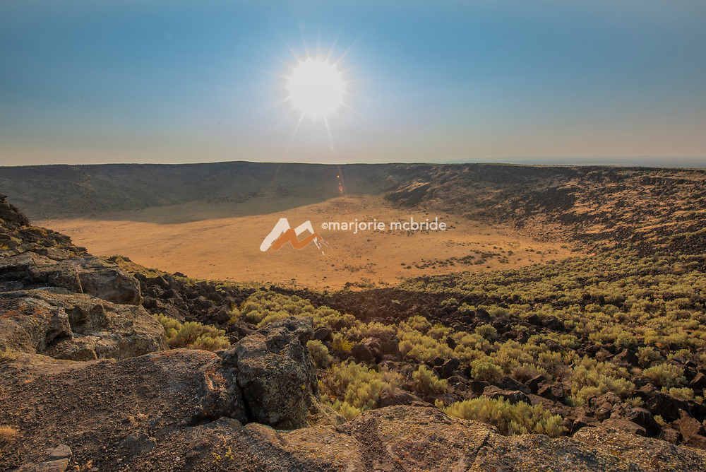Landscape view of the Dietrich crater at sun down, Dietrich, Idaho.