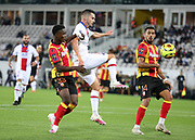 Pablo Sarabia of PSG between Ismael Boura and Facundo Medina of Lens during the French championship Ligue 1 football match between RC Lens (Racing Club de Lens) and Paris Saint-Germain (PSG) on September 10, 2020 at Stade Felix Bollaert in Lens, France - Photo Juan Soliz / ProSportsImages / DPPI