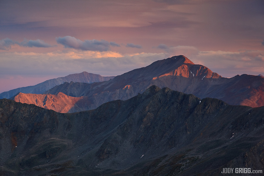 Sunset graces Mount Yale 14,196ft a fourteener in the Sawatch Range of Colorado.