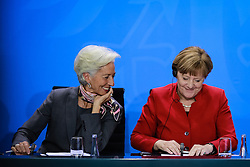"""German Chancellor Angela Merkel (R) and Christine Lagarde, Managing Director of the International Monetary Fund attend a joint press conference in Berlin, Germany, on April 5, 2016. Leaders of several international economic organizations called on governments to take """"decisive action"""" to strengthen reforms and boost growth at a meeting hosted by German Chancellor Angela Merkel in Berlin on Tuesday. EXPA Pictures © 2016, PhotoCredit: EXPA/ Photoshot/ Zhang Fan<br /> <br /> *****ATTENTION - for AUT, SLO, CRO, SRB, BIH, MAZ, SUI only*****"""