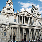 The front of St Paul's Cathedral, one of the most distinctive of London's landmarks. There has been a church on this site since 604 AD. The current building, with it's massive dome, was designed by Christopher Wren and dates back to the late 17th century.