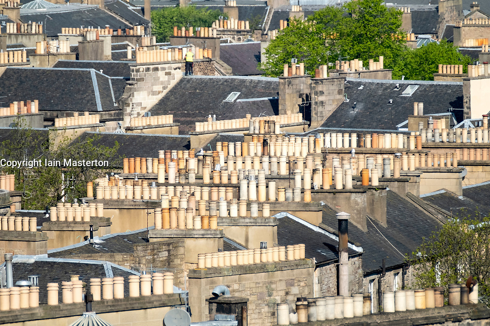 View over rooftops of the New Town in Edinburgh, Scotland, United Kingdom, UK