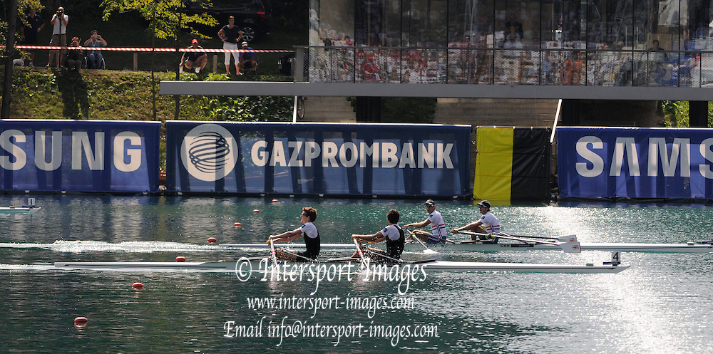Bled, SLOVENIA.  Men's Lightweight Double Sculls  Gold Medalist GBR LM2X, Bow Zac PURCHASE and Mark HUNTER, racing and Celebrating. 2011 FISA World Rowing Championships, Lake Bled. Sunday  04/09/2011  [Mandatory Credit;  Intersport Images]