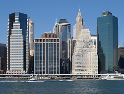 Skyline of Manhattan at Battery Park in New York City USA
