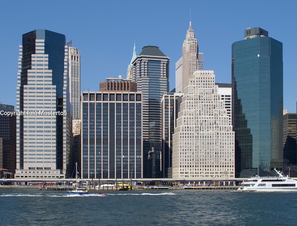 Skyline of Manhattan at Battery Park in New York City USA
