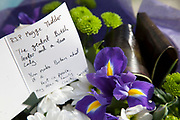 "London, UK. Monday 8th April 2013. Flowers and messages gather at the London residence on Chester Square of Baroness Margaret Thatcher following the announcement of her death. Maggie Thatcher (87), aka the ""Iron Lady"" dominated British politics for 20 years, died peacefully on 8/4/13 following a stroke."