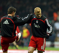 Photo: Mark Stephenson/Sportsbeat Images.<br /> Liverpool v Manchester United. The FA Barclays Premiership. 16/12/2007.Liverpool's John Arne Riise warms up before the match