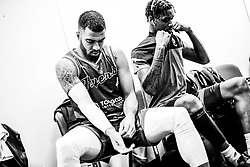 Lewis Champion of Bristol Flyers and Levi Bradley of Bristol Flyers  prepares in the changing room prior to tip off - Photo mandatory by-line: Ryan Hiscott/JMP - 26/01/2020 - BASKETBALL - Arena Birmingham - Birmingham, England - Bristol Flyers v Worcester Wolves - British Basketball League Cup Final